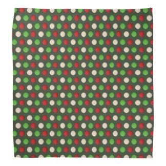 Red Green White Polka Dot Pattern Bandana