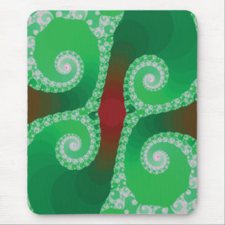 Red Green White Spiral Fractal Mouse Pad