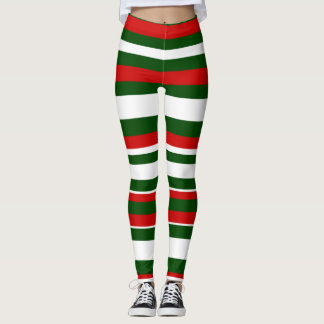 Red Green White Striped Christmas Holidays Elf Leggings
