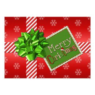 Red Green White Striped Christmas Photo Card