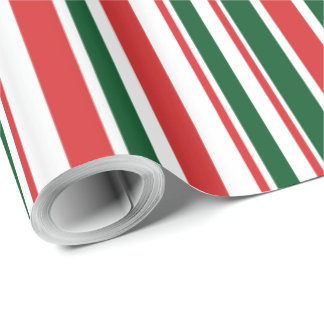 Red Green White Stripes Wrapping Paper