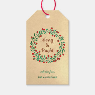 Red Green Winter Berry Wreath Christmas Gift Tags