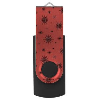 Red-green with stars swivel USB 2.0 flash drive