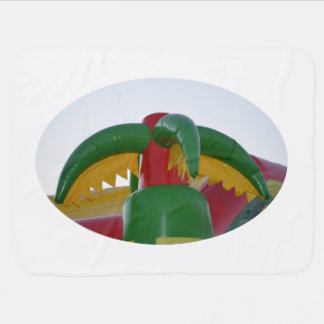 red green yellow blow up palm tree colorful design pramblanket
