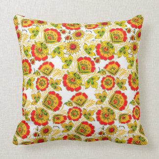 Red, green, yellow Russian folk art design. Cushion