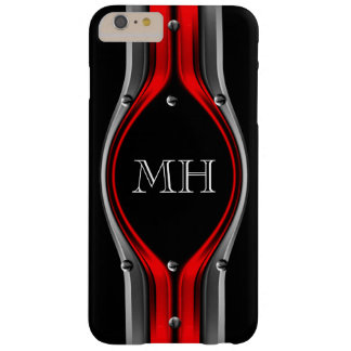 Red Grey Abstract Metal look Chrome Monogram Barely There iPhone 6 Plus Case