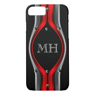 Red Grey Abstract Metal look Chrome Monogram iPhone 7 Case