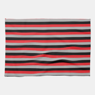 Red, Grey and Black Stripes Tea Towel