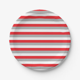 Red, Grey and White Stripes 7 Inch Paper Plate