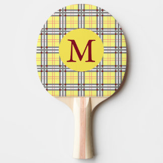 Red, Grey and Yellow  Scottish Tartan Plaid Ping Pong Paddle