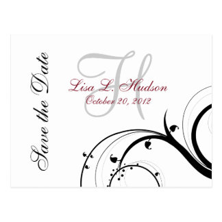 Red, Grey, Black Swirls Save the Date Postcard