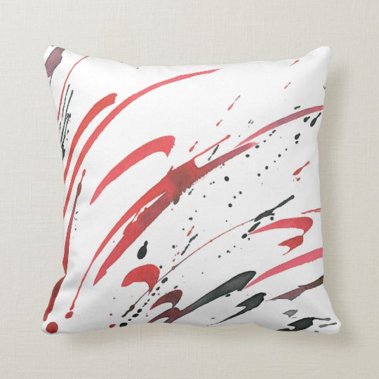 Red Grey Black Watercolor Abstract Pillow