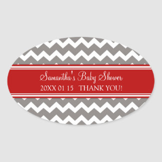 Red Grey Chevron Baby Shower Favor Stickers