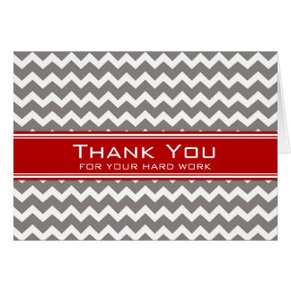 Red Grey Chevron Employee Anniversary Card