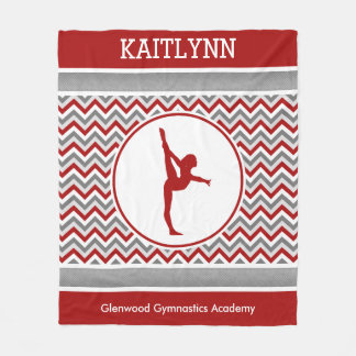 Red / Grey Chevron Stripes Gymnastics w/ Monogram Fleece Blanket