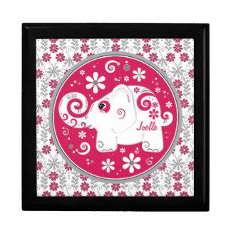 Red Grey Decorated Elephant Floral Keepsake Box