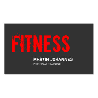 Red Grey Fitness Personal Trainer Business Card