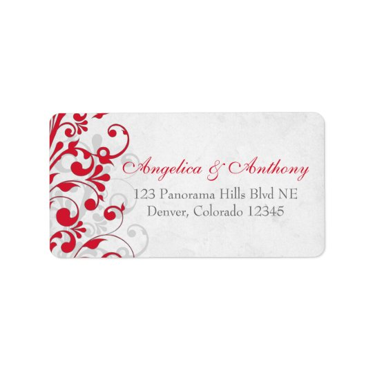 Red Grey Floral Wedding Return Address Labels