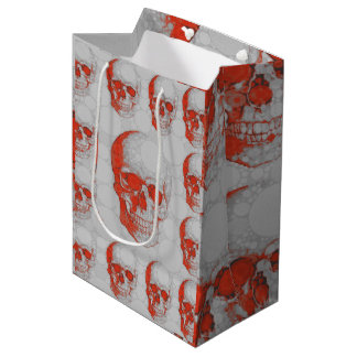 Red Grey Skulls Medium Gift Bag