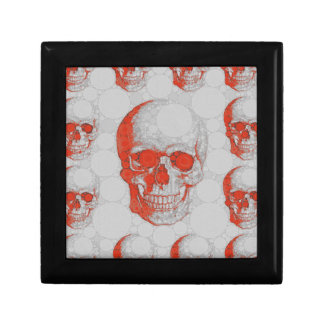 Red Grey Skulls Small Square Gift Box