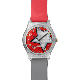 Red grey star add your name & photo boys watch