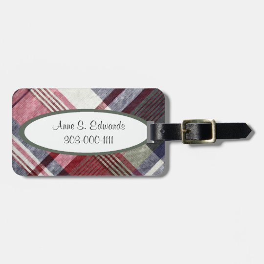 Red Grey Tartan Plaid Luggage Tag