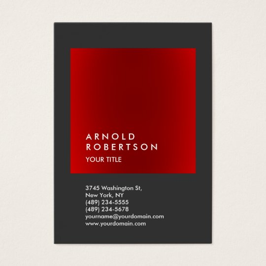 Red Grey Trendy Large Professional Business Card