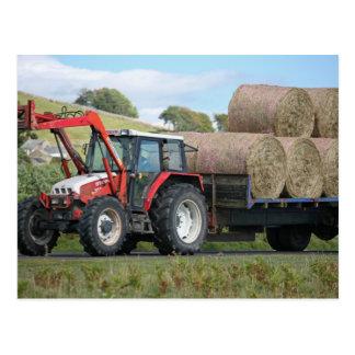 Red Greys Linkon Tractor Postcard