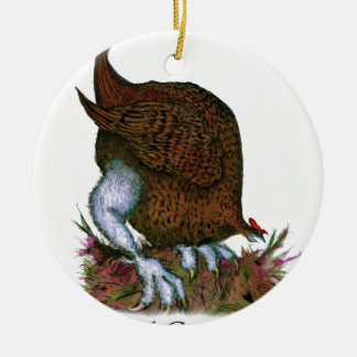Red Grouse bird, tony fernandes Round Ceramic Decoration