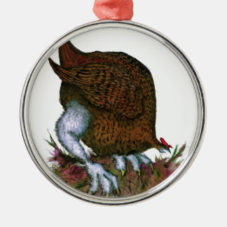 Red Grouse bird, tony fernandes Silver-Colored Round Decoration