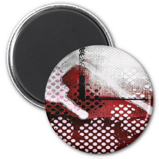Red Grunge 6 Cm Round Magnet