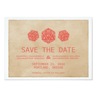 """Red Grunge D20 Dice Gamer Save the Date Invite 5"""" X 7"""" Invitation Card"""