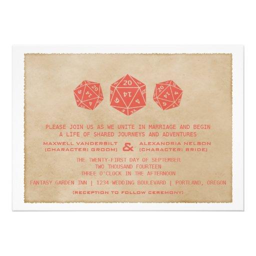 Red Grunge D20 Dice Gamer Wedding Invitation