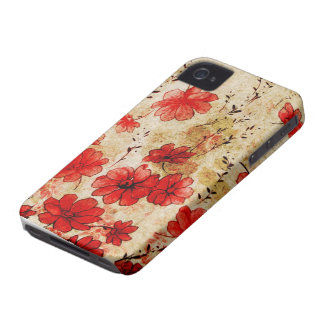 Red Grunge Floral iPhone 4 iPhone 4 Covers