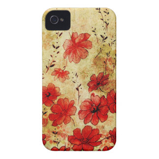 Red Grunge Floral iPhone 4 Case-Mate iPhone 4 Case