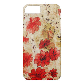 Red Grunge Floral iPhone 7 Case