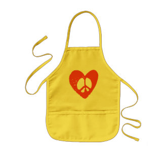 Red Grunge Heart with Peace Sign Kids' Apron