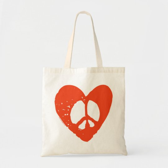 Red Grunge Heart with Peace Sign Tote Bag