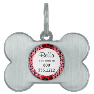 Red Grunge Leopard Pet Identity Tag
