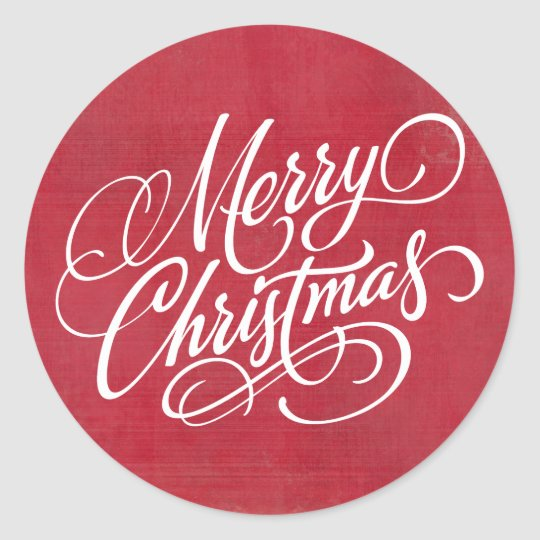 Red Grunge Merry Christmas Script Classic Round Sticker