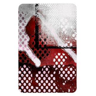 Red Grunge Rectangular Photo Magnet