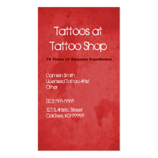 Red Grunge Tattoo Profile Business Card