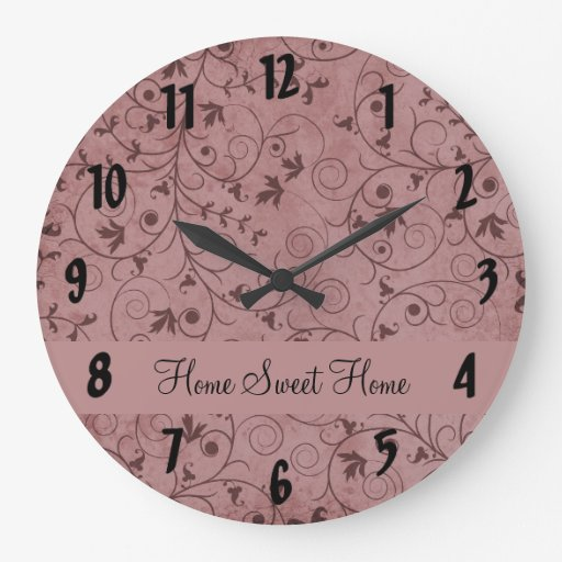 Red Grungy Floral Clock