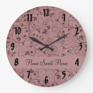 Red Grungy Floral Wallclock