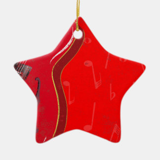 Red Guitar Background Christmas Ornament