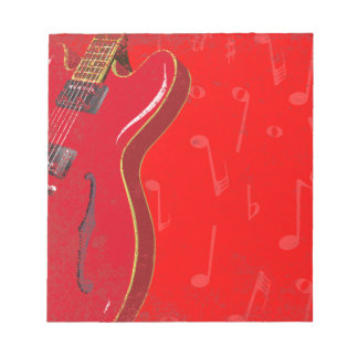 Red Guitar Background Notepad