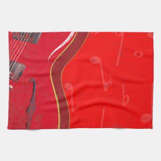Red Guitar Background Tea Towel