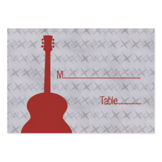 Red Guitar Grunge Place Card Pack Of Chubby Business Cards