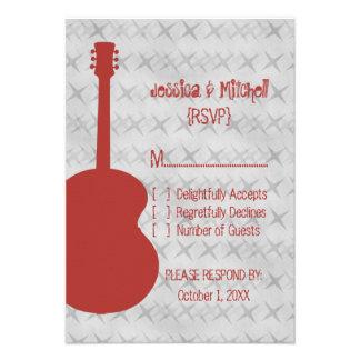 Red Guitar Grunge Response Card
