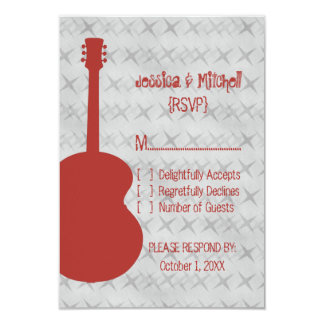 "Red Guitar Grunge Response Card 3.5"" X 5"" Invitation Card"